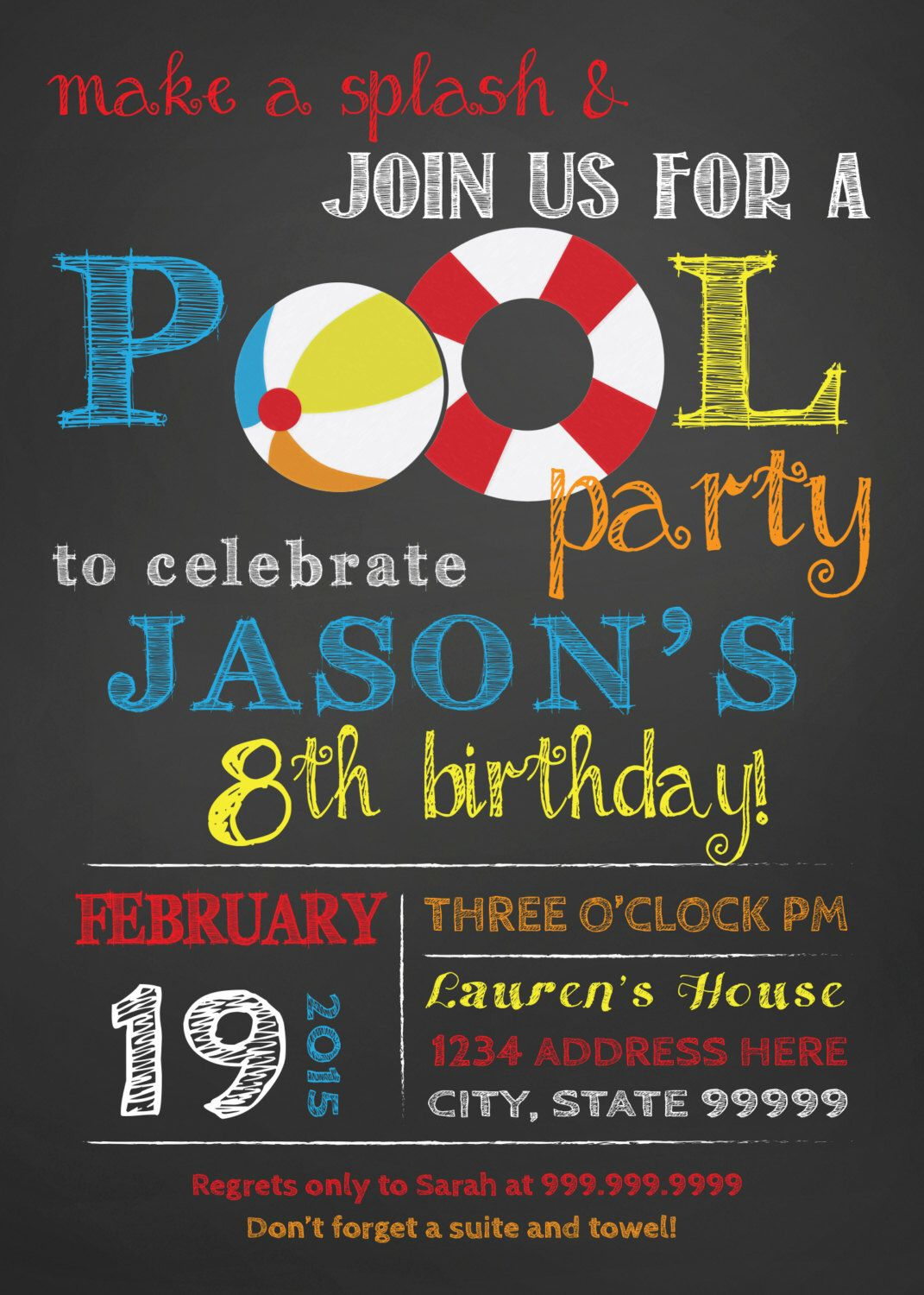 Birthday Pool Party Invitation Pool Party Bash Invite Chalkboard