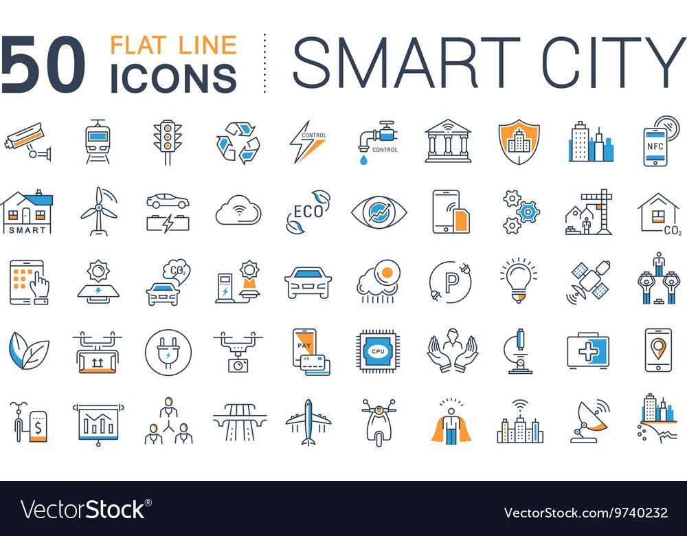 Set Flat Line Icons Smart City Royalty Free Vector Image Affiliate Icons Smart Line Set Ad Vector Free City Icon Smart City
