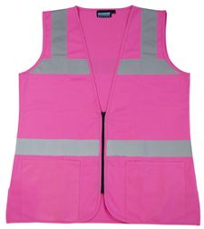 Womens Non ANSI Fitted Pink Safety Vest