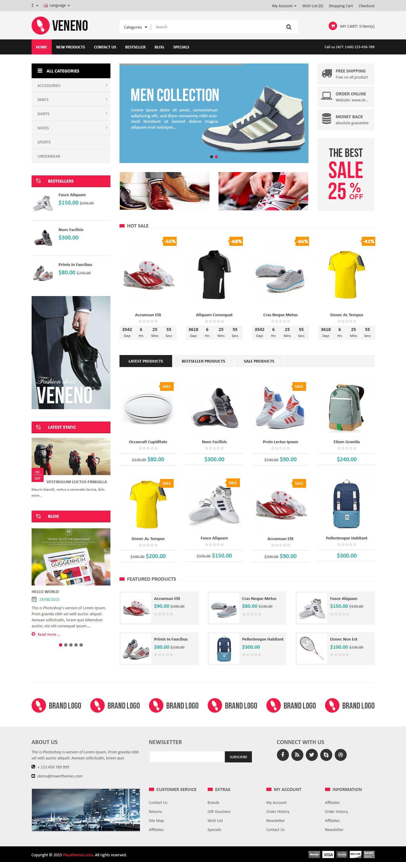 Veneno - Multipurpose Responsive OpenCart Theme Demo 1 #ecommerce #website Download: http://themeforest.net/item/veneno-multipurpose-responsive-opencart-theme/12867654?ref=ksioks