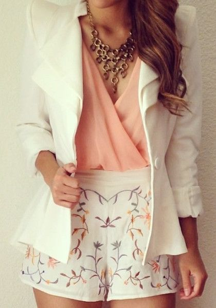 Double Lapel Fit-and-flare Blazer - White - Formal Peplum Styled Blazer