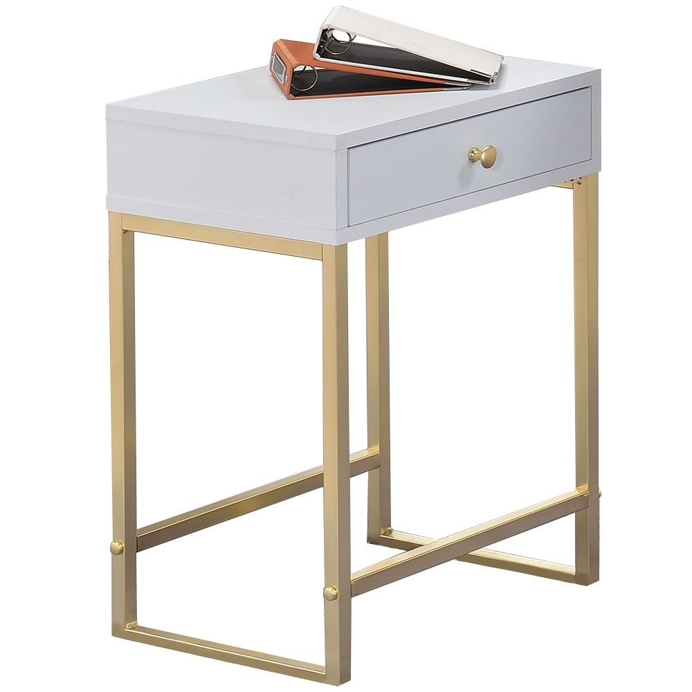 Grace Bedside Table White Gold 26 Off 169 00 Milan