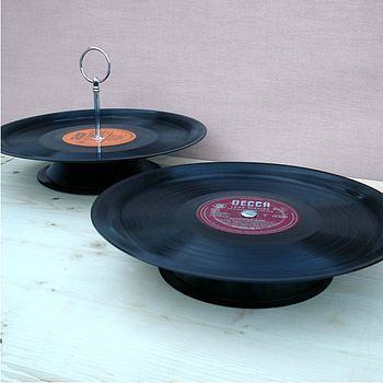 Personalised Vinyl Record Cake Plate Record Crafts Record Cake Stand Record Cake