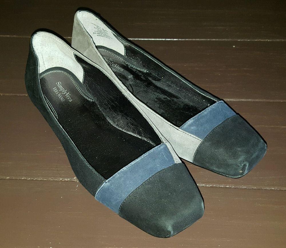 Simply Vera Wang black gray navy suede leather ballet flats shoes womens size 7M #SimplyVeraVeraWang #BalletFlats #Casual