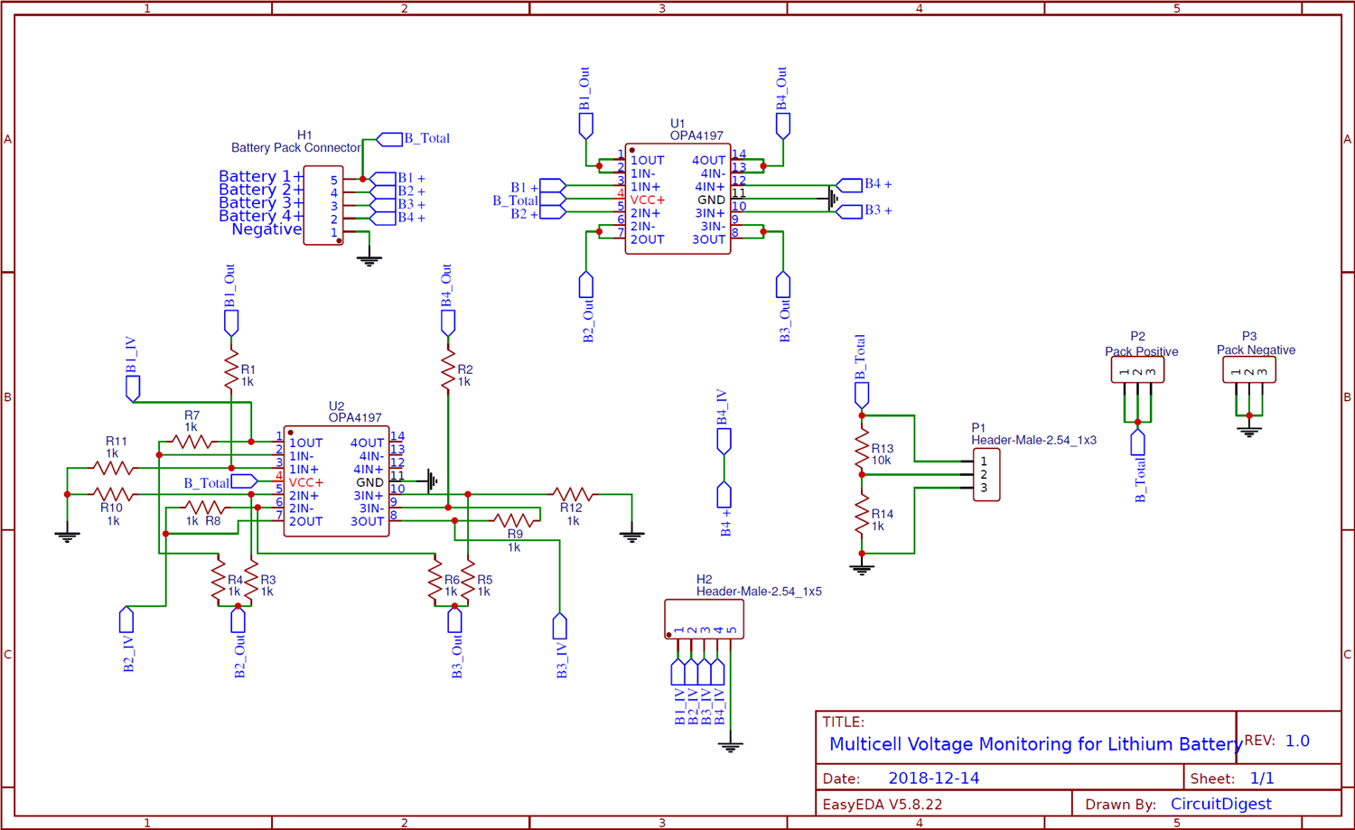 Circuit Diagram For Multicell Voltage Monitoring For Lithium Battery Pack In Electric Vehicles Lithium Battery Battery Pack Battery