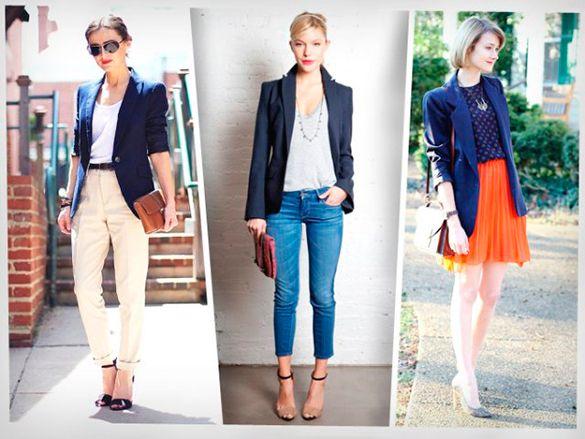 Combinaciones para tu blazer azul oscuro mujer vestido for Combinaciones con azul