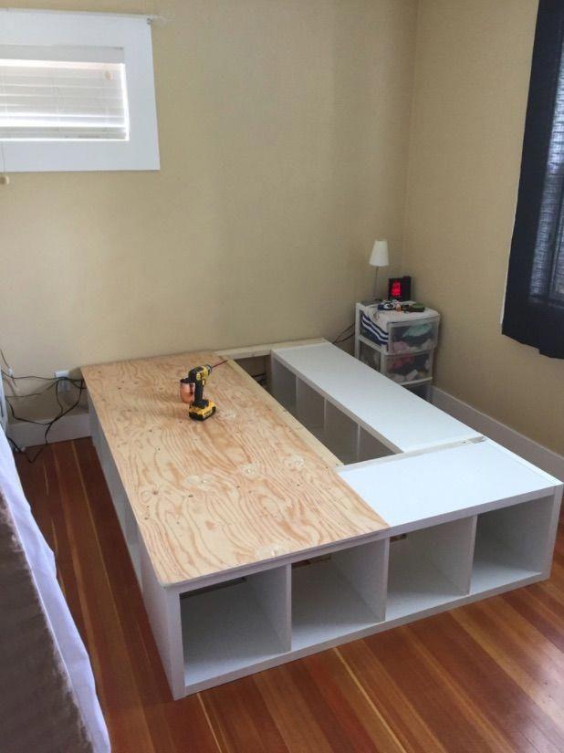 Ikea Kallax Queen Storage Bed Furniture Inspiration