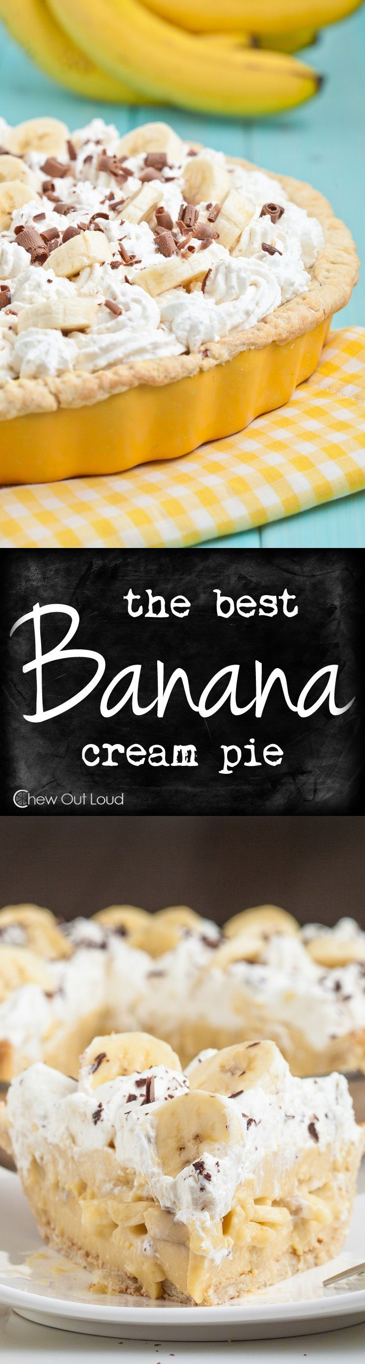 The filling is velvety, creamy, luscious. Loaded with bananas and only bananas. On a flaky all-butter crust. Irresistible. #banana #pie #recipe