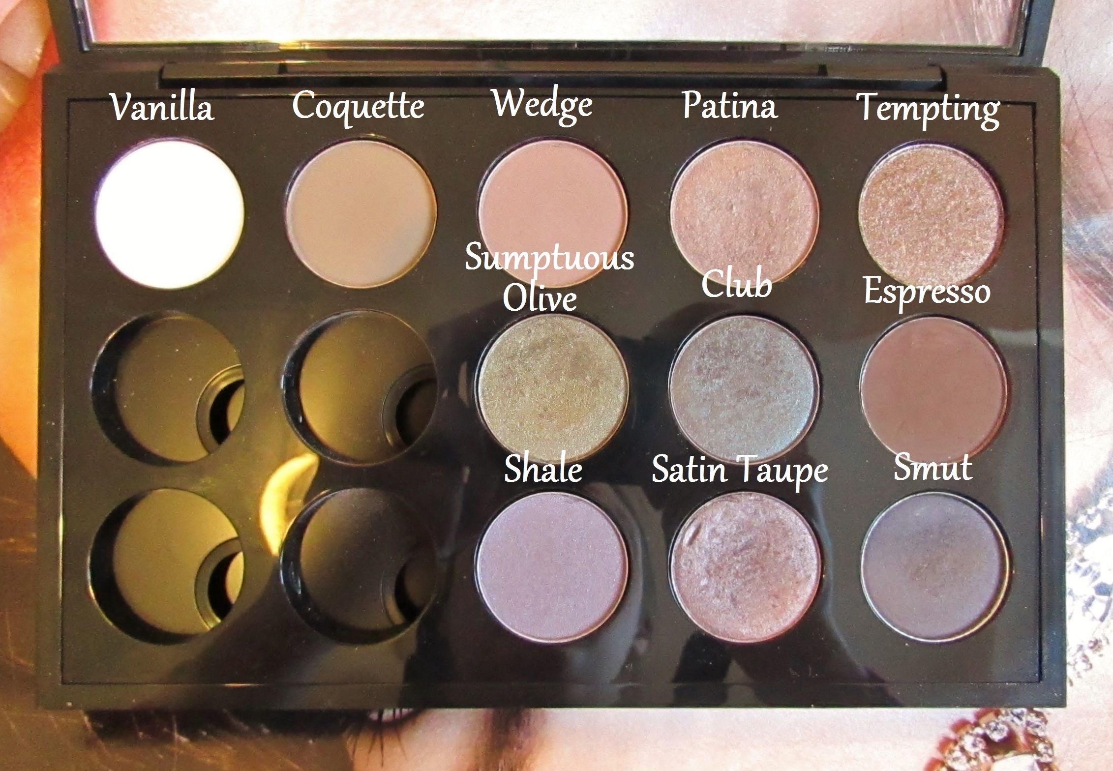 MAC Eyeshadow Palette - Vanilla, Coquette, Wedge, Patina, Tempting, Sumptuous Olive, Club, Espresso, Shale, Satin Taupe, Smut