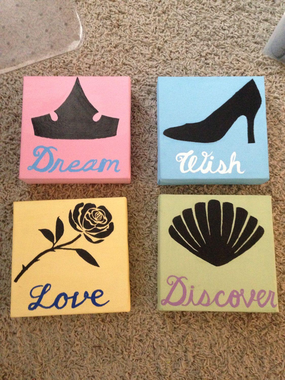 $25.00 on Etsy- Disney Princess painted canvas set https://www.etsy ...