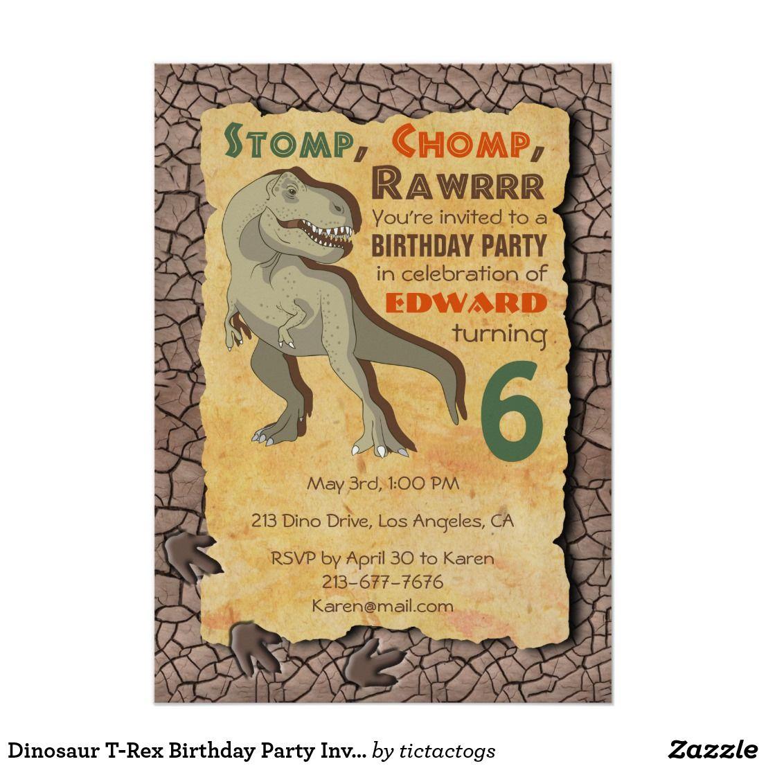 Dinosaur T Rex Birthday Party Invitation Have A Rawrrring Good With This Awesome Features The Tagline Stomp
