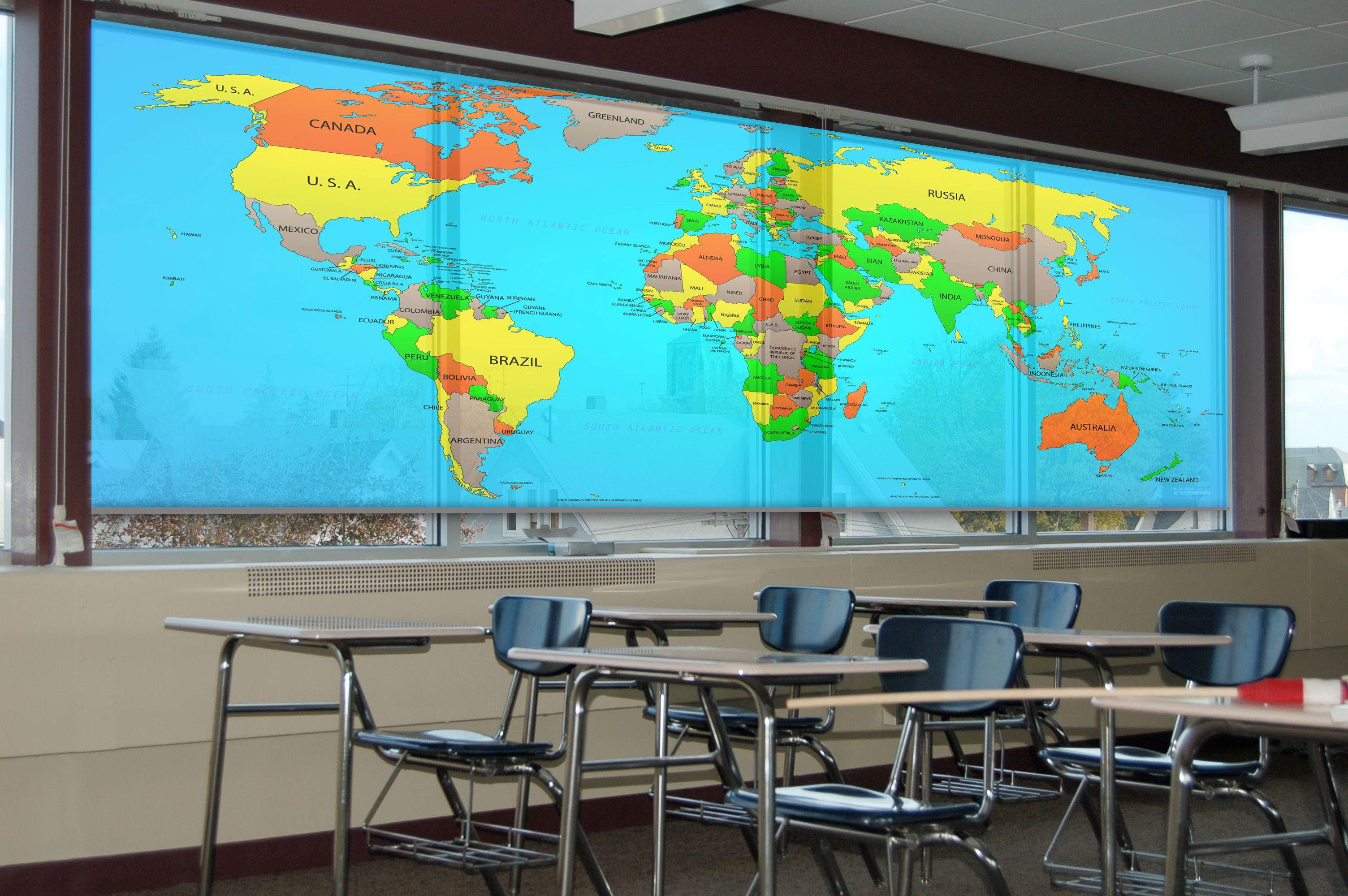 Map Of The World On A Custom Printed Roller Blind In Class