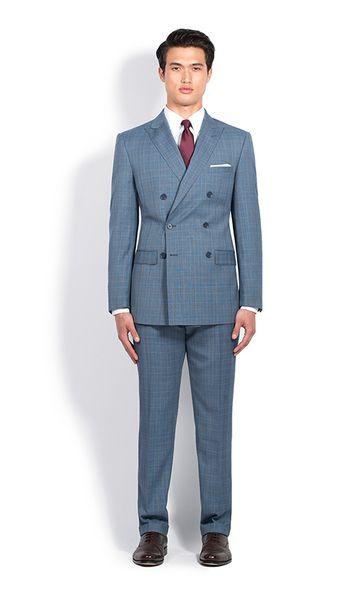 aa66390d6408 Steel Blue Glenplaid Double-Breasted Slim Fit Suit | Combatant Gentlemen