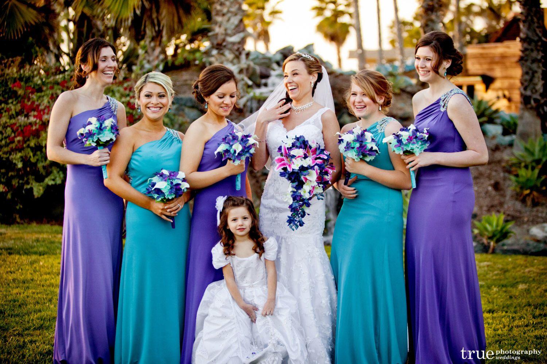 Keri S Bridemaids Bouquets Aqua Hydrangeas Blue Violet Mo