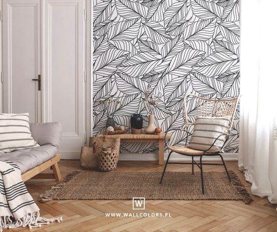 Tropical Wallpaper, Self Adhesive, Black Banana Leaf, Boho