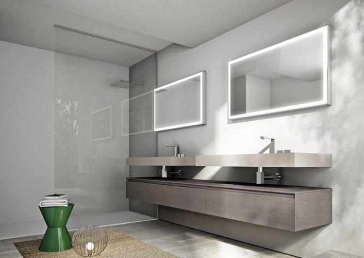 minimalistisch mit waschtisch aus holz mit grauer optik | bad, Hause ideen