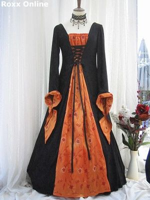 Black and orange sequined taffeta medieval dress