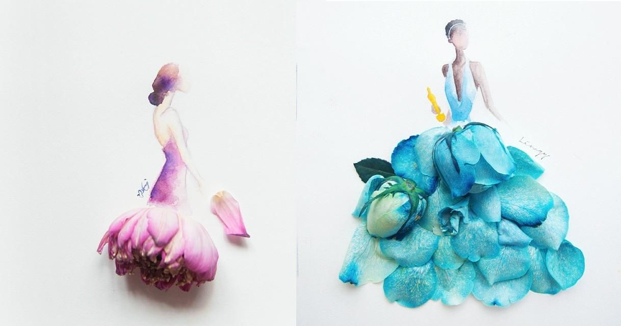 Lovely Flower Petal Art by Zhi Wei