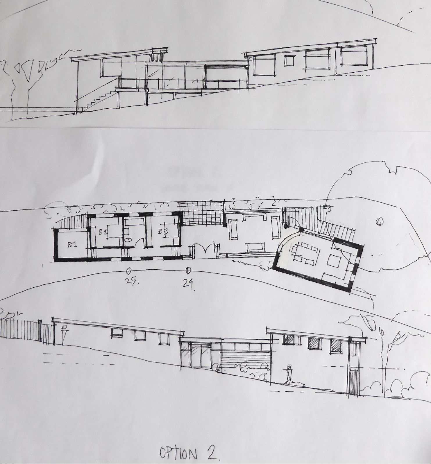 sketch design for a new build house on long narrow sloping site