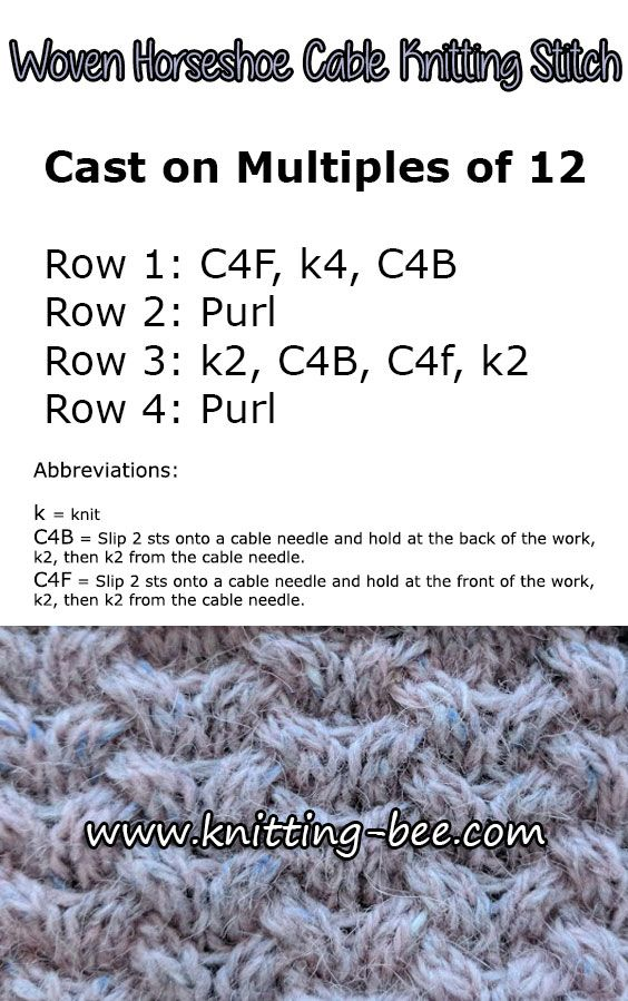 Horseshoe Woven Cable Free Knitting Stitch, see more at http://www ...