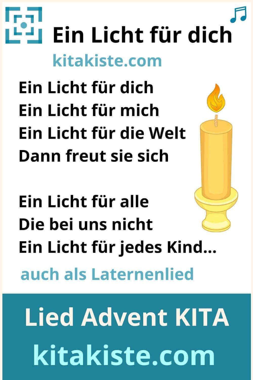 Ein Licht Fur Dich Lied Fur Laterne Advent Kindergarten In 2020 Laterne Lied Lied Kinder Lied