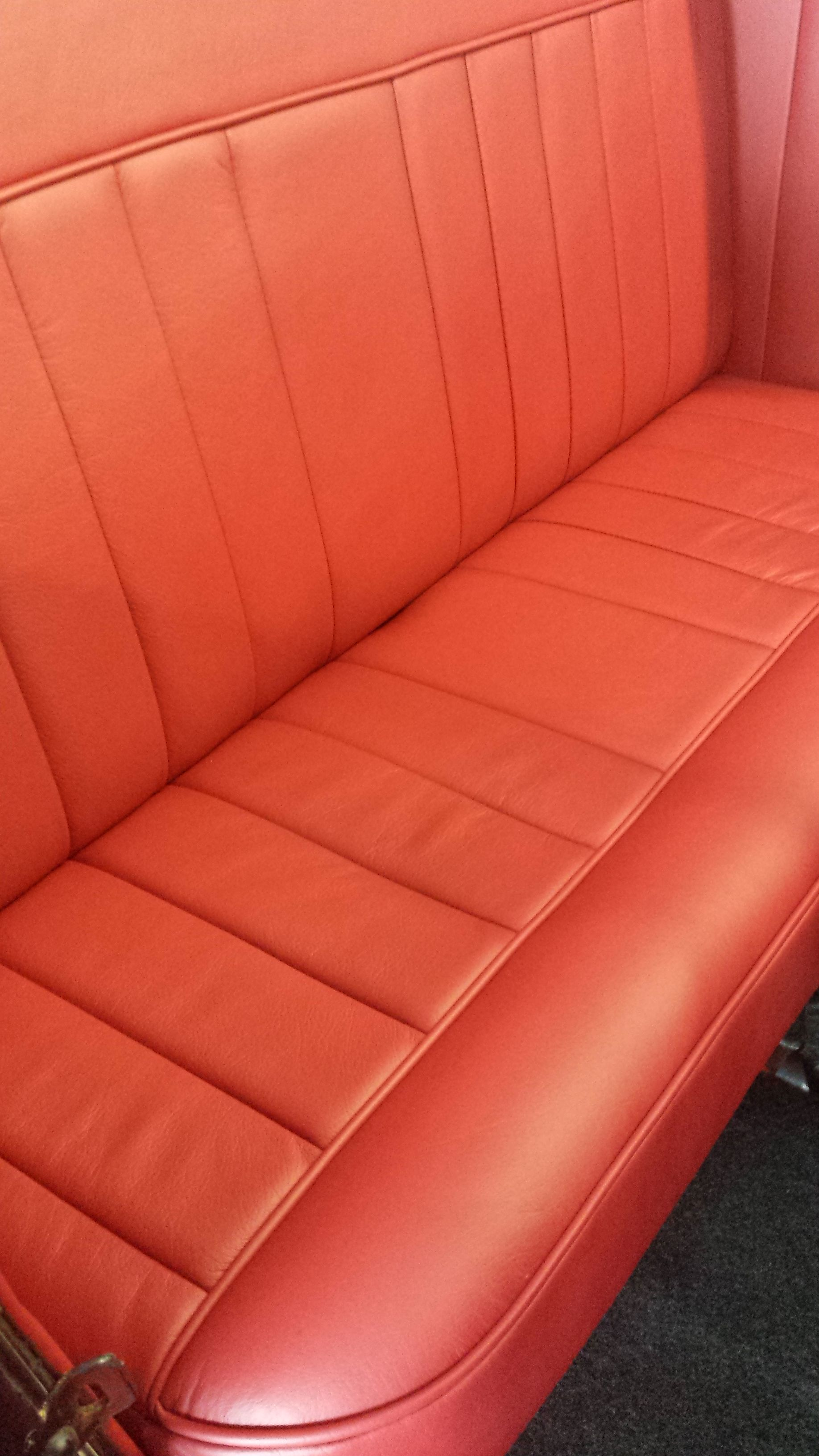 Pleasant Model A Ford Custom Built Red Napa Leather Bench Seat Side Onthecornerstone Fun Painted Chair Ideas Images Onthecornerstoneorg