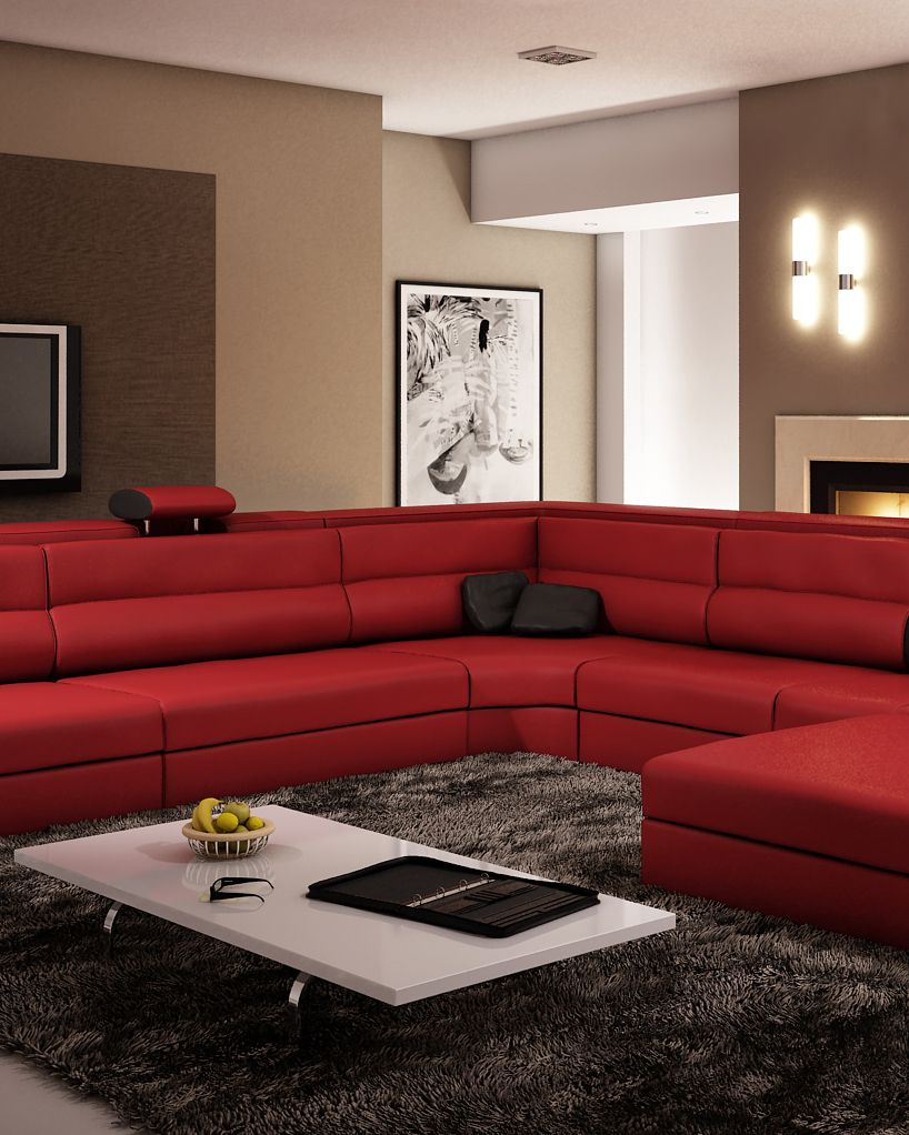 Polaris Dark Red Bonded Leather Sectional Sofa Red Sectional