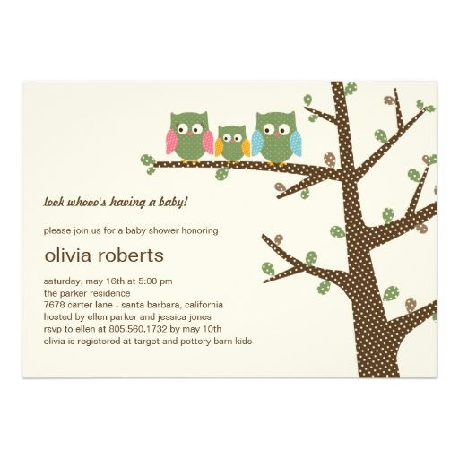 Dotty Owls Baby Shower Invitation Personalized Announcements