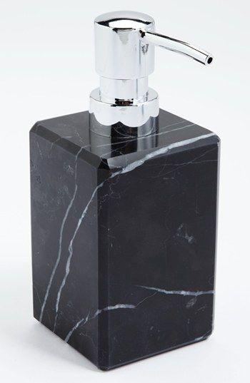 Waterworks studio 39 luna 39 black marble soap dispenser - Black marble bathroom accessories ...
