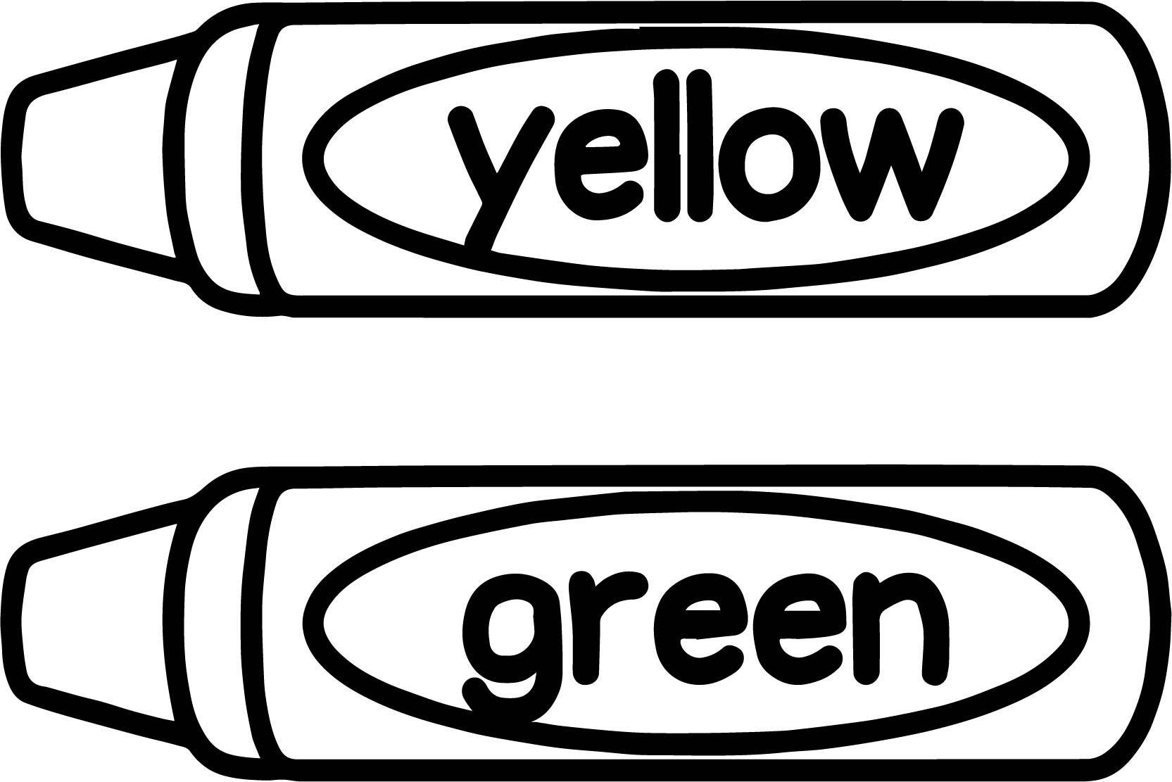 Cool Crayon Yellow Green Coloring Page