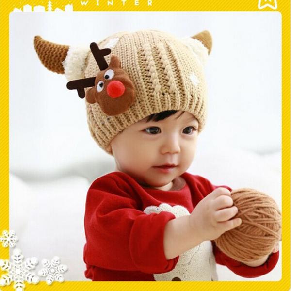 Children Boys Girls Baby Christmas Cap Woolen Fawn Snowflake Hat ... 5443570f7eab
