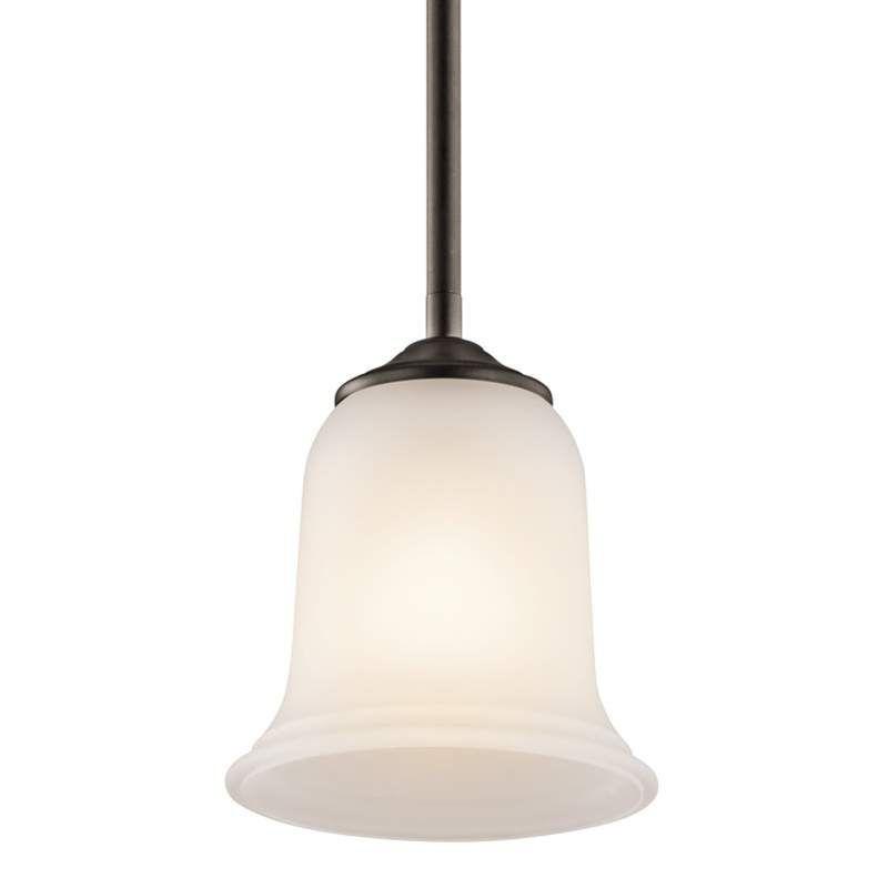 Kichler 43404 Wellington Square Single Bulb Indoor Pendant With Bell Shaped Glas Olde Bronze