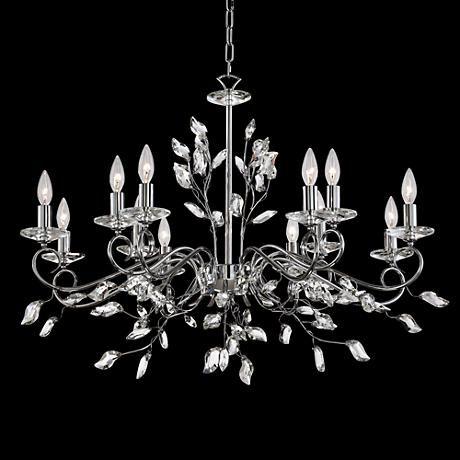 Josey Chrome 37 W 12 Light Clear Crystal Leaf Chandelier 8g574