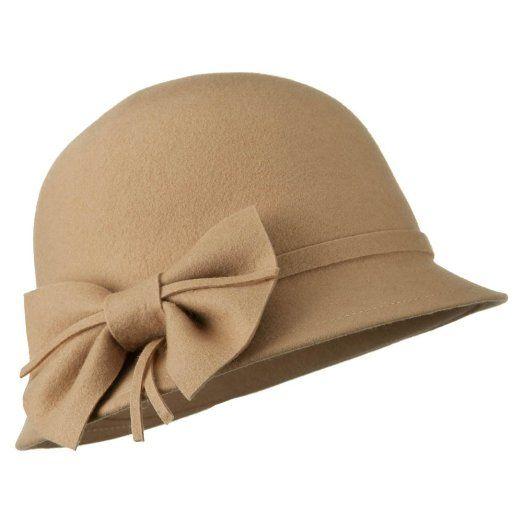 Amazon.com: Wool Felt Cloche Hat with Bow - Tan OSFM W23S47F: Clothing