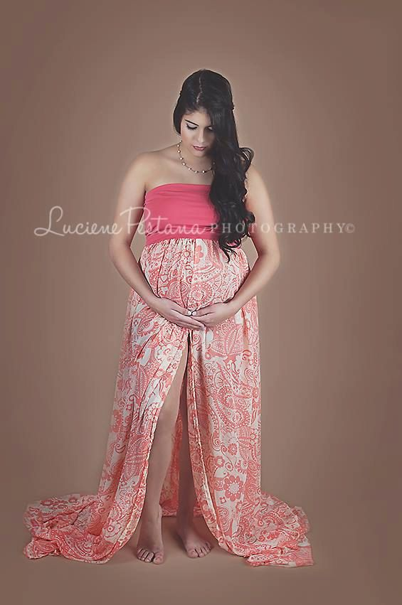 486bba4495dd3 Chiffon Maternity Gown / Dress Photo Prop Coral by SilkFairies, $69.00