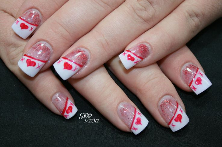 valentine\'s day acrylic nail designs | Hugs and Kisses Nail Art ...