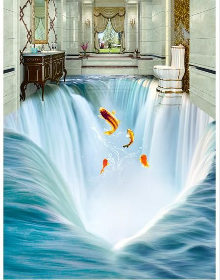Himself Wants To Know If Senor Can Paint This In The Commode And Urinal Area With Trout Decoration De Salle De Bain Moderne Parement Mural Salle De Bain 3d