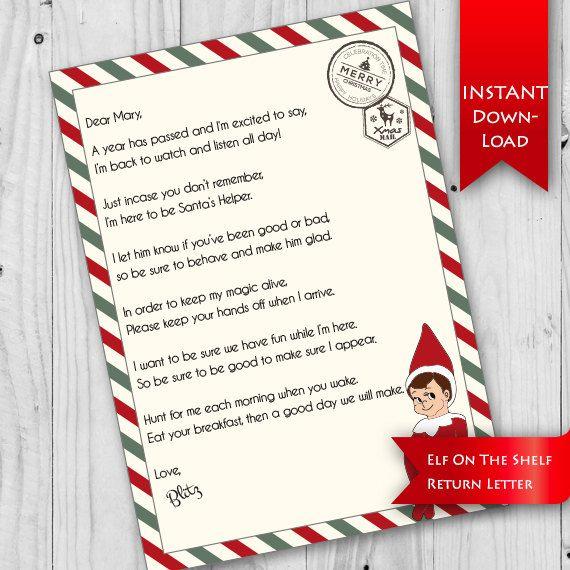 Editable  Instant Download Elf On Shelf IM Back Letter