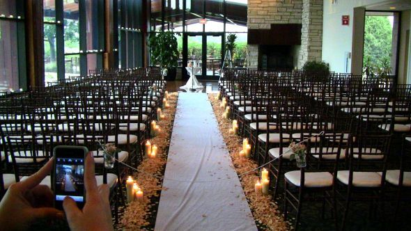 Ceremony Decor Wedding Alfred Angelo Chicago Freeze Dried Flower Petals Il Independence Grove Libertyville Pillar Candles Lining