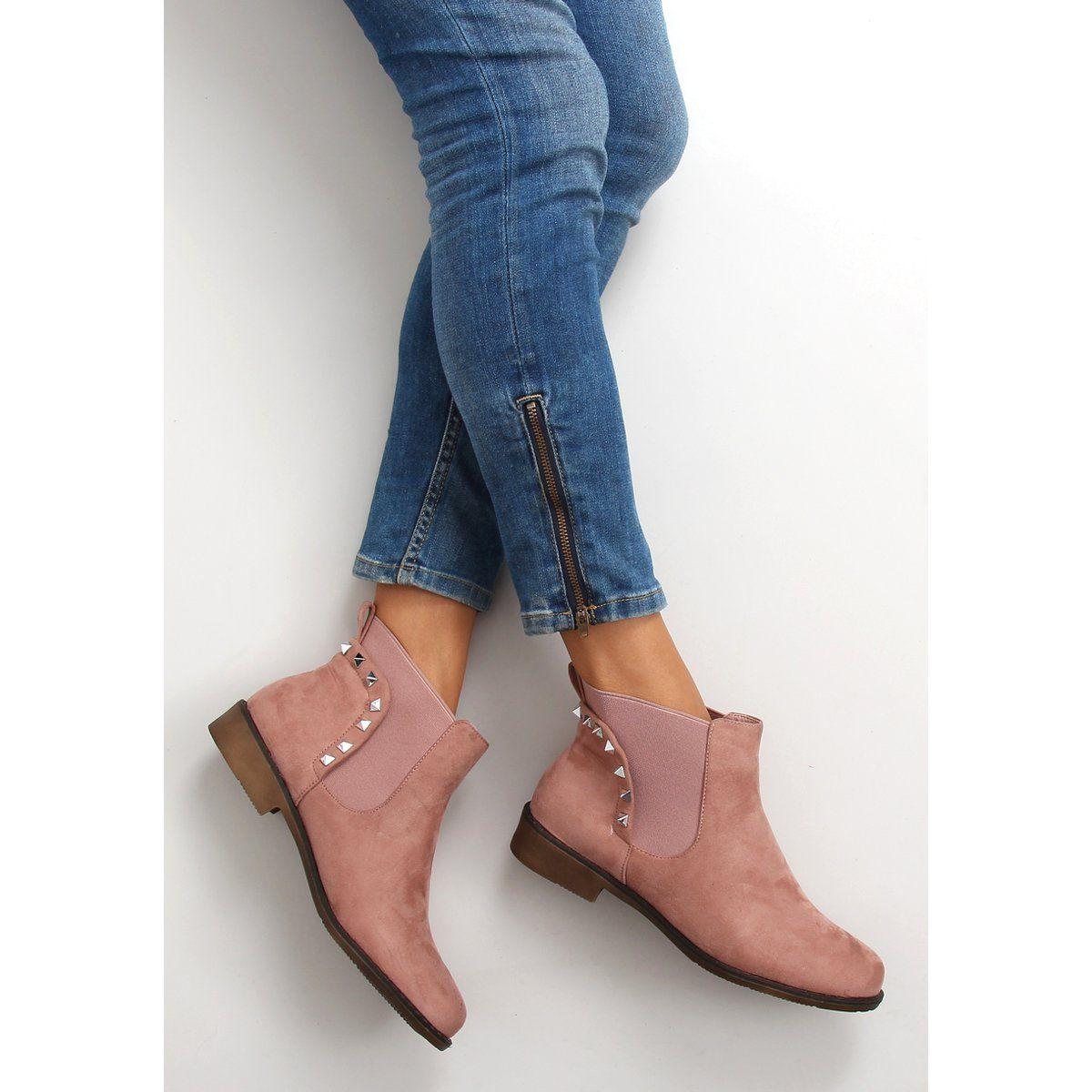Botki Damskie Obuwiedamskie Rozowe Zamszowe Sztyblety Z Cwiekami F175 Pink Obuwie Damskie Shoes Boots Fashion