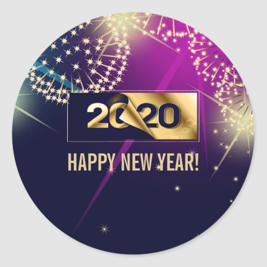 Happy New Year 2020 Fireworks Countdown Classic Round Sticker Zazzle Com Happy New Year Gif Happy New Year 2020 Custom Holiday Gifts