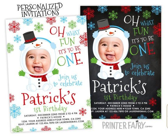 Snowman birthday Invitation with Photo, Christmas 1st Birthday Invitation, Personalized DIGITAL Printable Invite, Any…