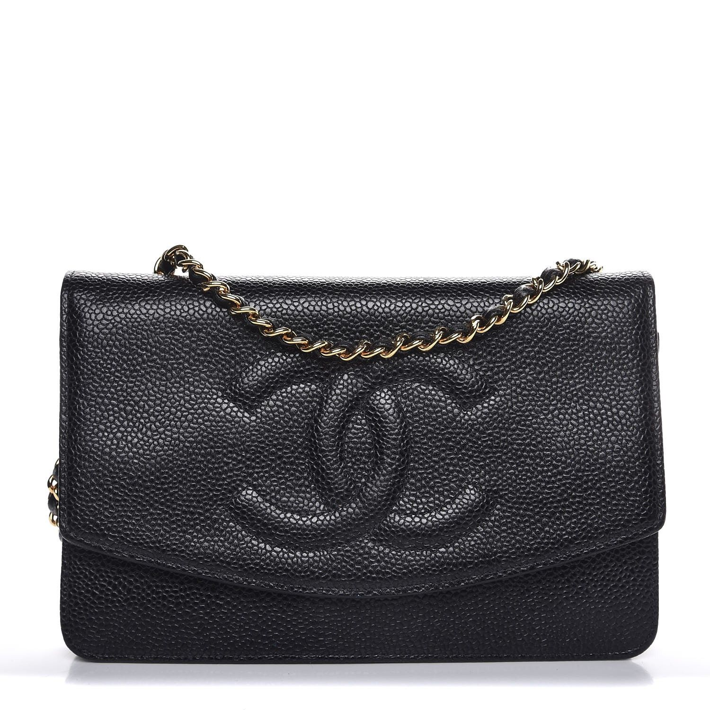 Chanel caviar timeless cc wallet on chain woc black