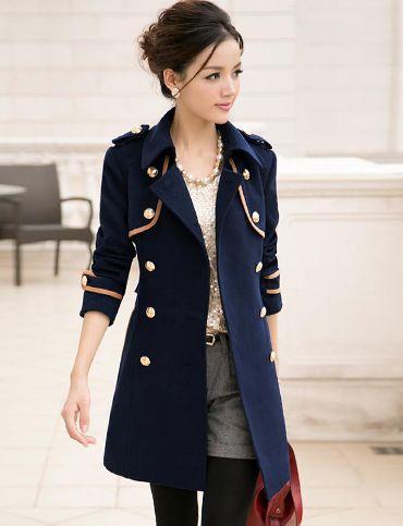 323f2c4530e7 Elegant Style Color Block Trench Coat for Women