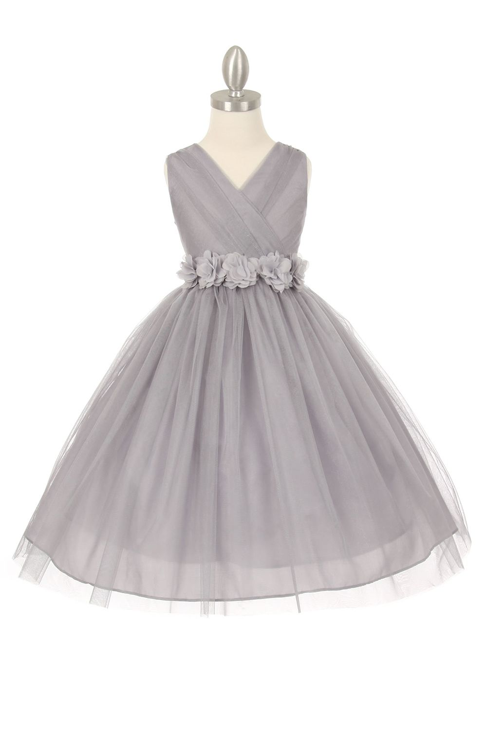 Silverwhite tulle v neck with removable floral sash flower girl silverwhite tulle v neck with removable floral sash flower girl dress mightylinksfo