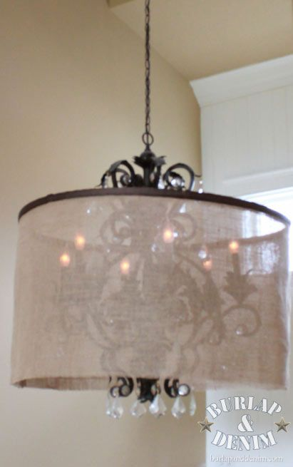 Diy barrel shade chandelier burlap denimburlap denim update diy barrel shade chandelier burlap denimburlap denim aloadofball Gallery