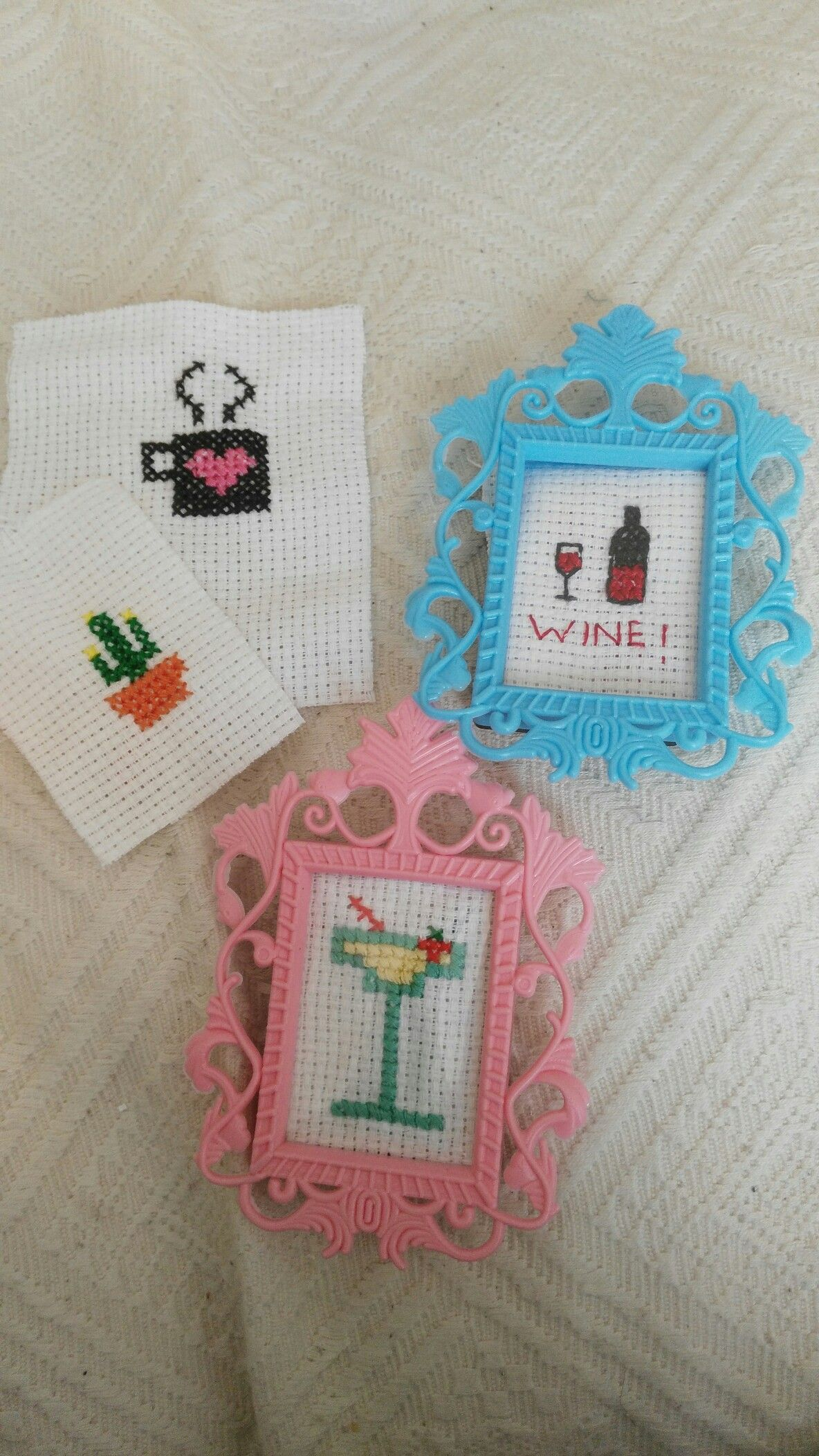 Minimal Cross Stitch Drinks And Cactus, Framed In Mini Magnet