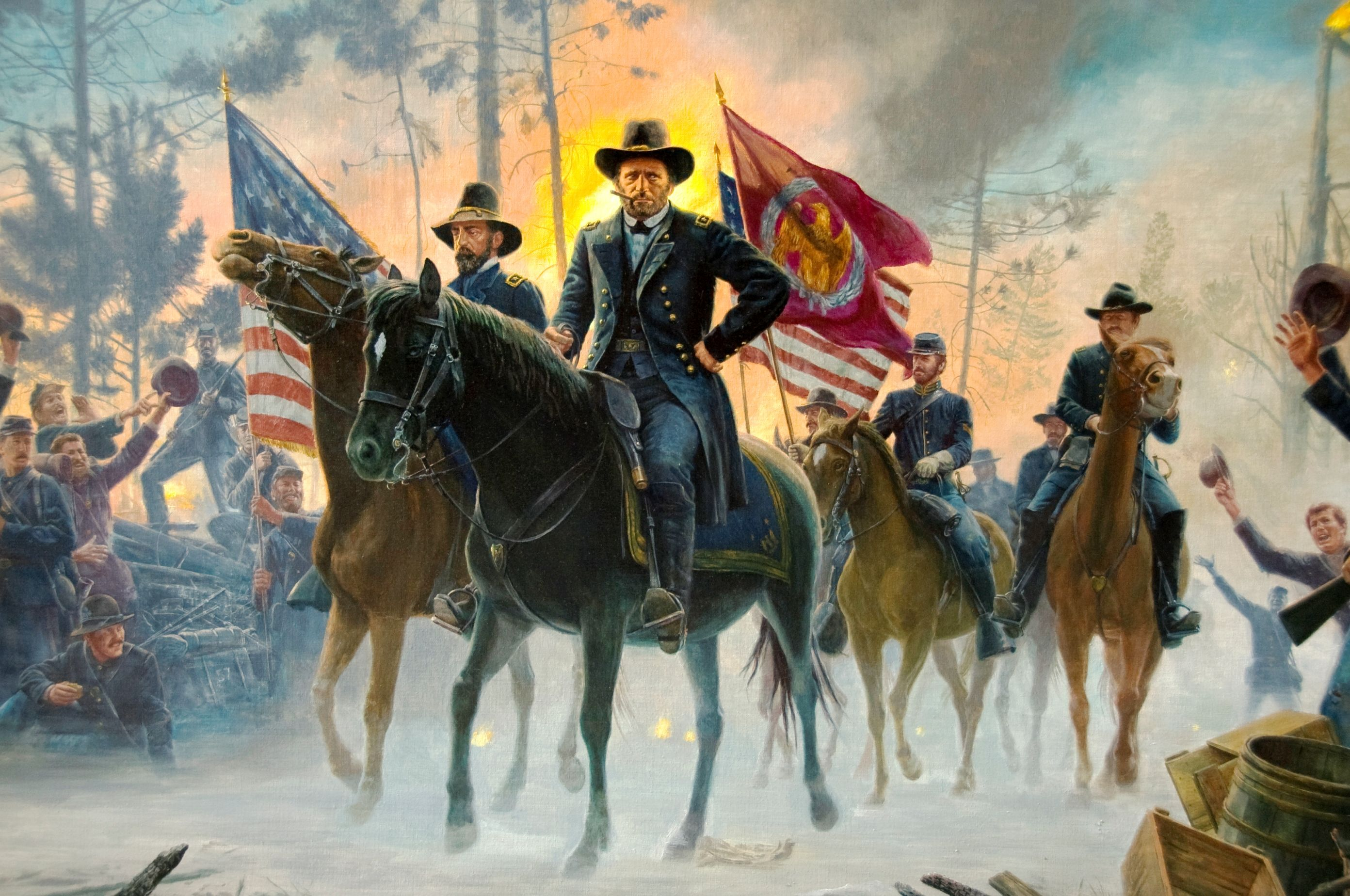 on to richmond by mort kunstler the painting depicts lt the painting depicts lt general ulysses s grant on the field during the battle of the wilderness virginia to grant s right is depicted major general