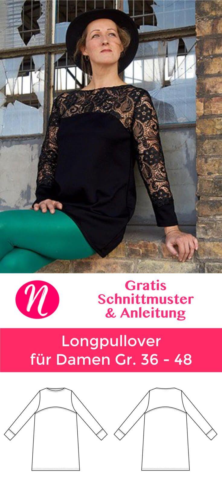 Longpullover mit Spitze | Für damen, Nähe und Drucken