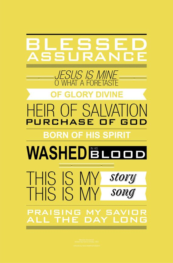 Blessed Assurance Lyrical Poster in Golden Chalice by InHymns ...